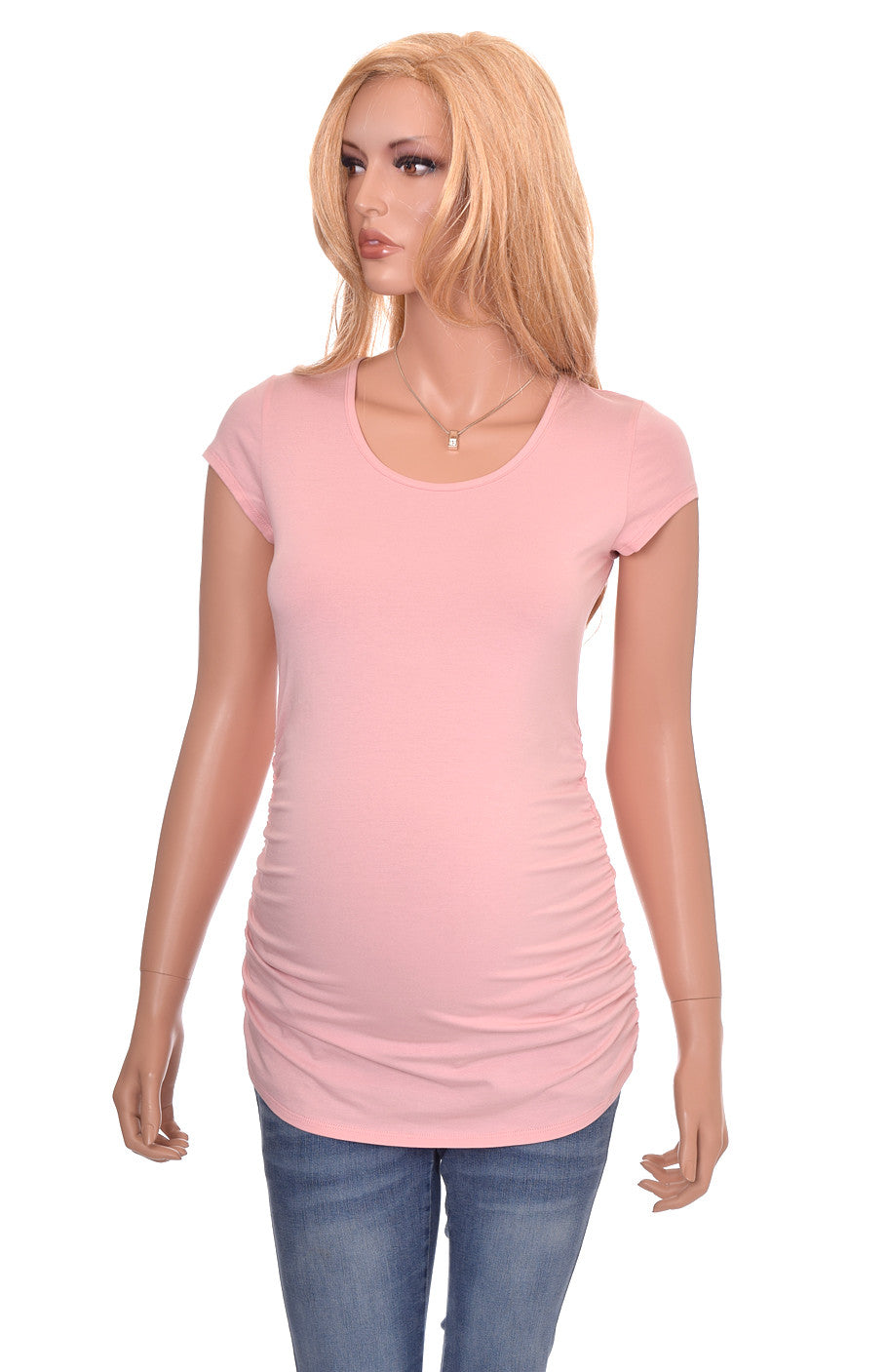 Wholesale maternity blanks shirts tshirts pink short sleeve cotton modal