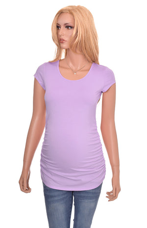 Wholesale maternity blanks shirts tshirts purple orchid short sleeve cotton modal