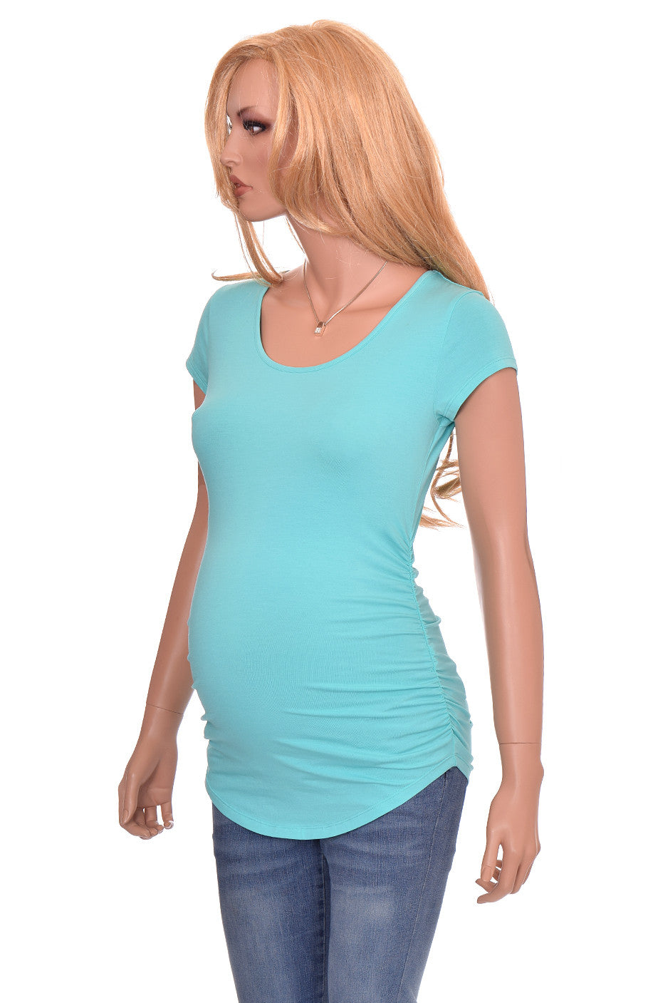 Wholesale maternity shirts tshirts blanks teal blue short sleeve cotton modal
