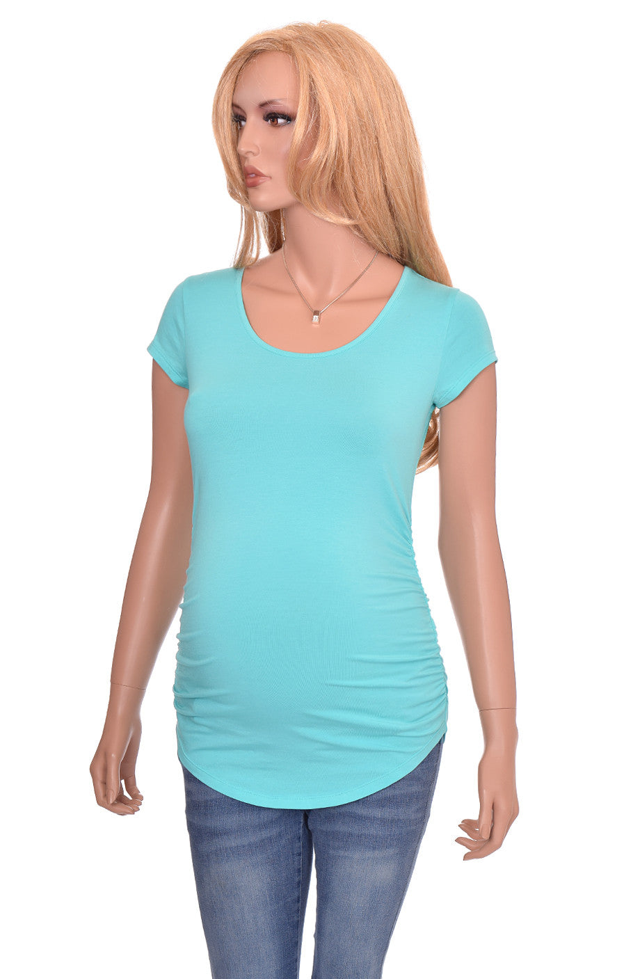 Wholesale maternity shirts tshirts blanks turquoise teal blue short sleeve cotton modal