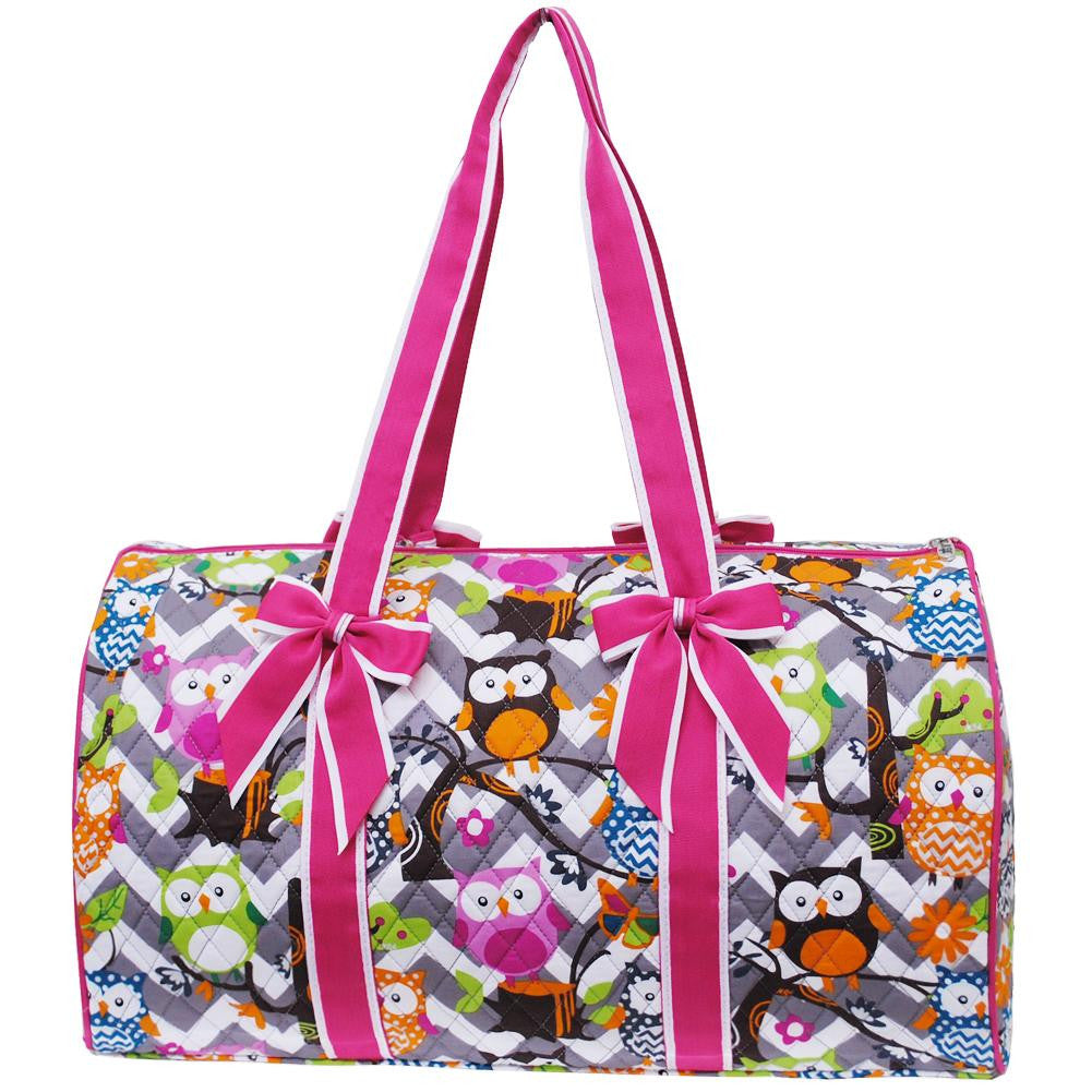 OWL TOWN print grey chevron large  quilted  Duffel  Bag