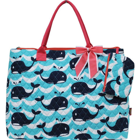 Whale   quilted  large tote   Bag 2pcs