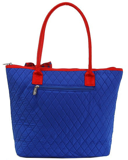 Belvah Quilted Medium Tote Bag Royal Blue/Red