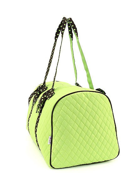 Belvah Quilted  Lime Green/Brown Large Duffel Bag 21""