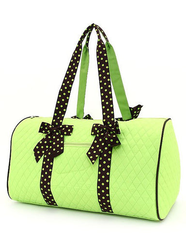 Belvah Quilted  Lime Green/Brown Large Duffle Bag 21""