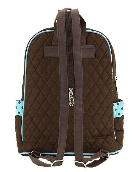 Belvah Quilted Solid Large Backpack Brown/Turquiose