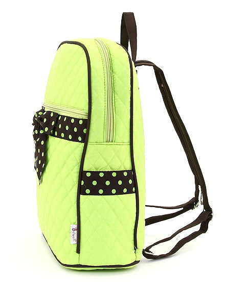 Belvah Quilted Solid Large Backpack Lime Green/Brown