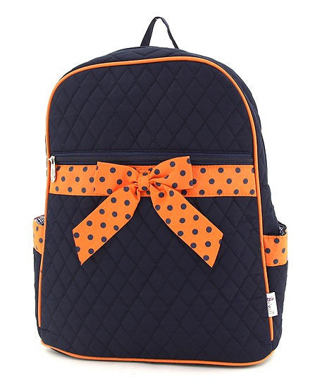 Belvah Quilted Solid large Backpack Navy/Orange