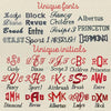 souniquegifts.com offers over 30 different variety fonts for your embroidery