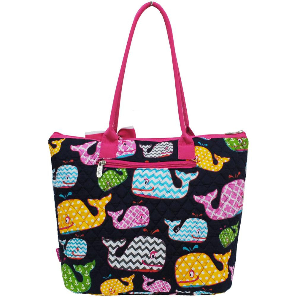 Whale sea summer medium  quilted   tote   Bag