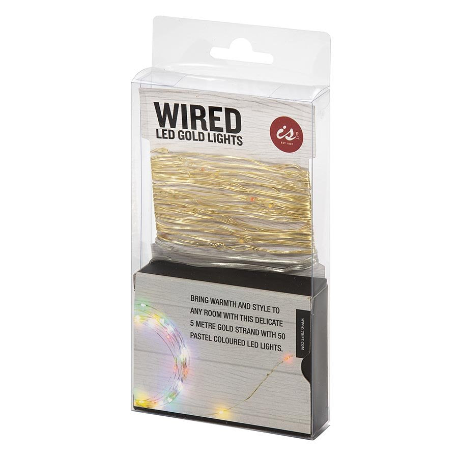 Gold Wire with Pastel coloured Lights