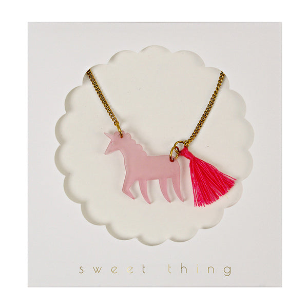 Meri Meri Pink Unicorn Necklace