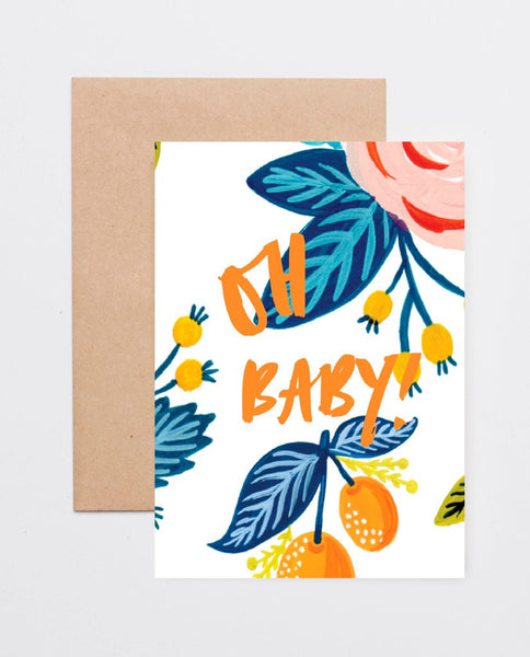 'Oh Baby' Clementine Greeting Card by Jewel Paper Co.