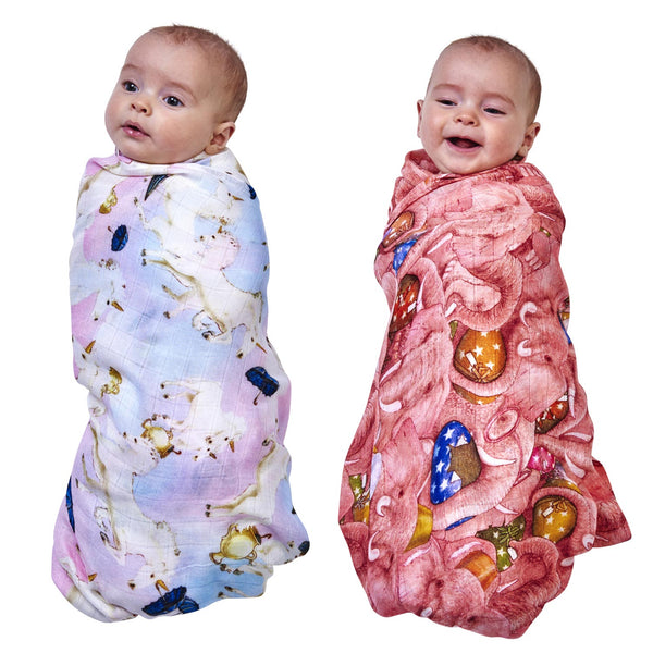 Kip & Co X ANIMALIA Unruly Unicorns & Pink Enormous Elephants - Swaddle Set