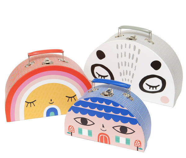 Trio of Kids Half Moon Double-sided Toy Suitcases