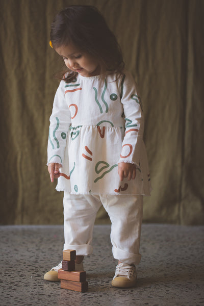 FEATHER DRUM | Baby Abstract Eliza Smock