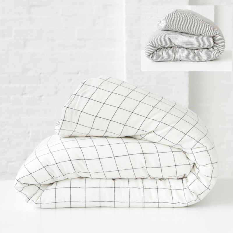 Society of Wanderers  Kids Grid & Charcoal Stripe Duvet Cover