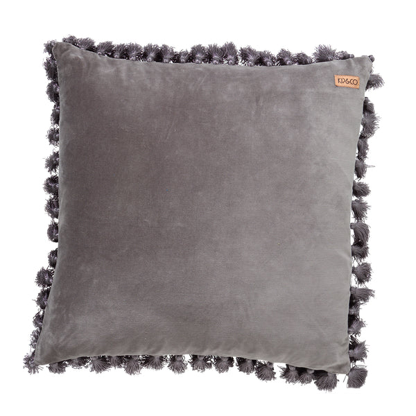 KIP & CO Velvet Tassel Cushion Cover - Storm Front Grey (WAREHOUSE SALE)