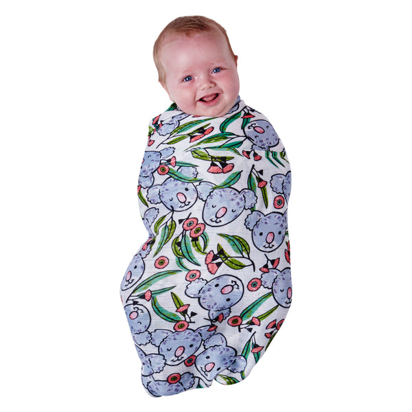 KIP & CO Bamboo Baby Wrap Swaddle - Christmas Koala