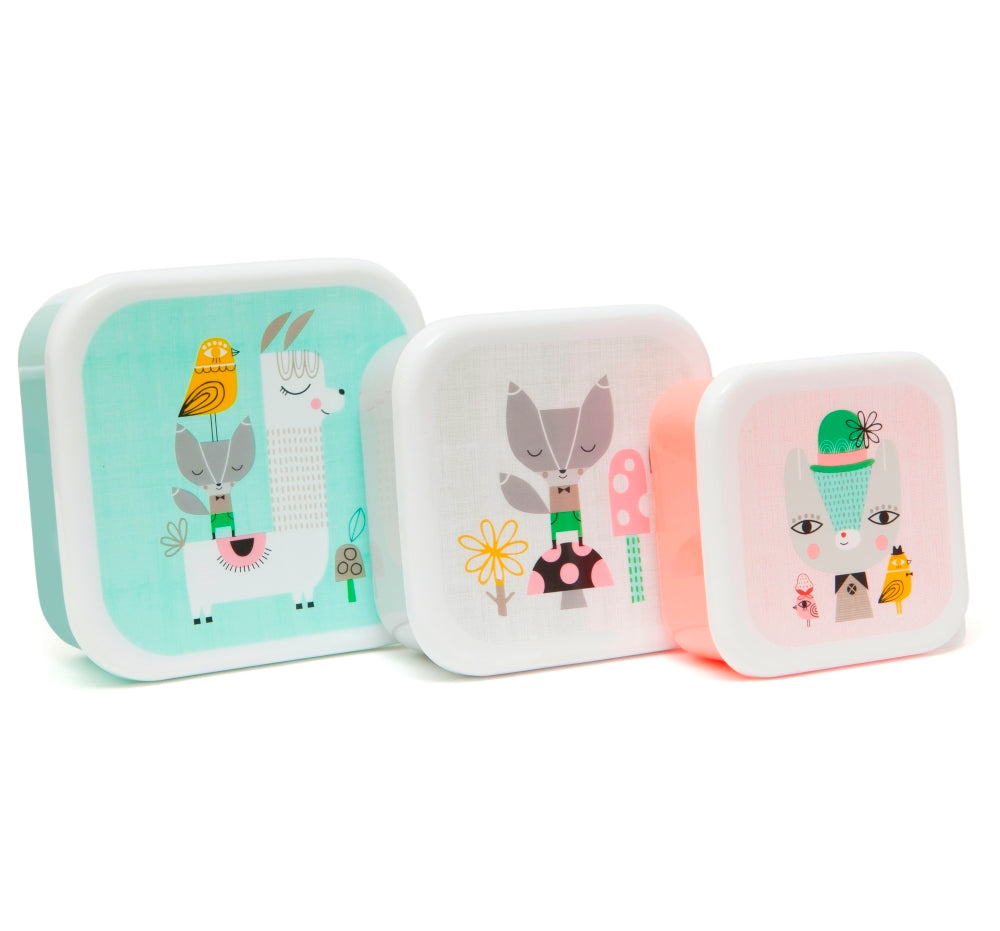 PETIT MONKEY | Lama and friends set of 3 lunch boxes by Suzy Ultman