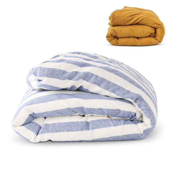 SOCIETY OF WANDERERS | Kids Chambray Stripe & Turmeric Duvet Cover