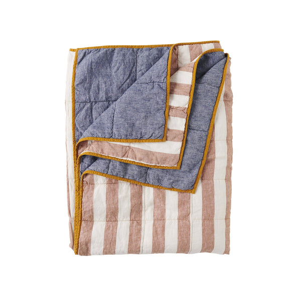 SOCIETY OF WANDERERS | Tobacco Stripe & Denim Double sided Quilt - KING