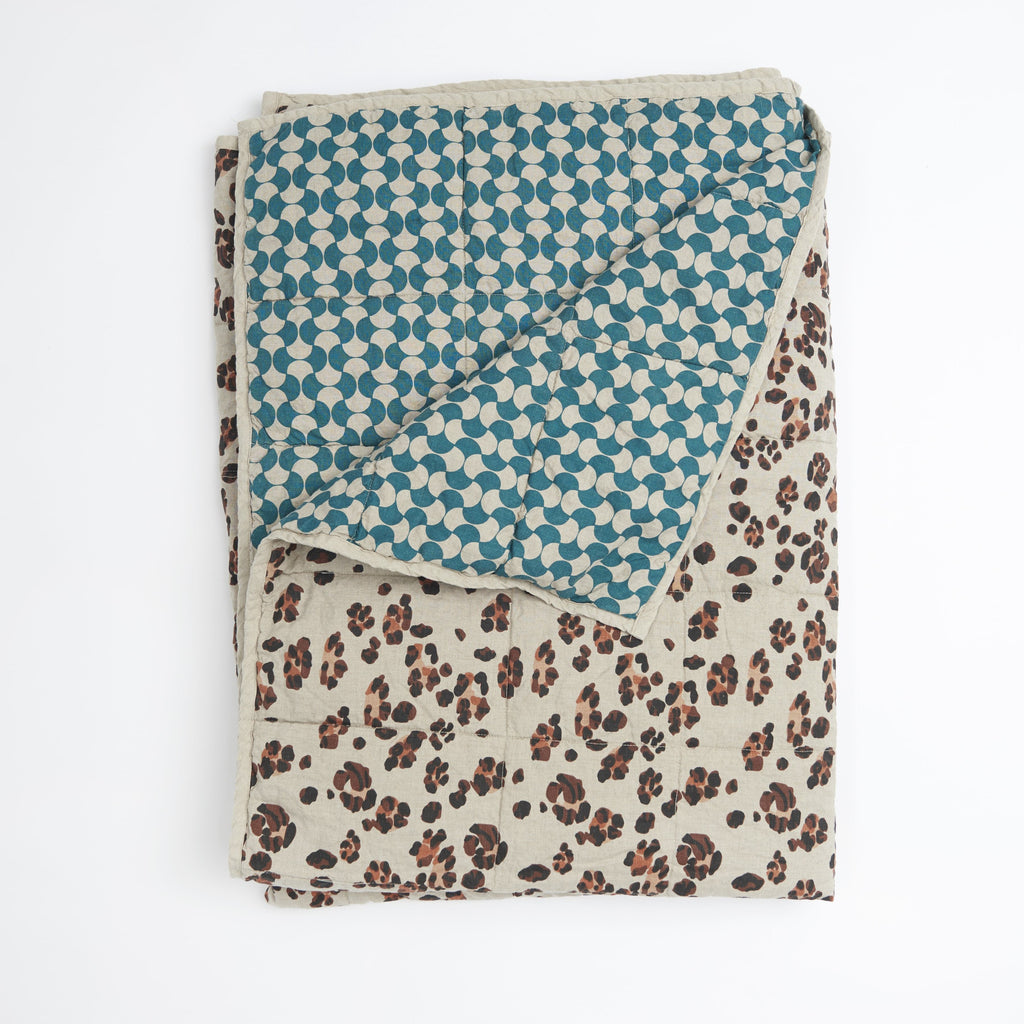 Society of Wanderers Leopard & Teal Butterfly Cot Quilt