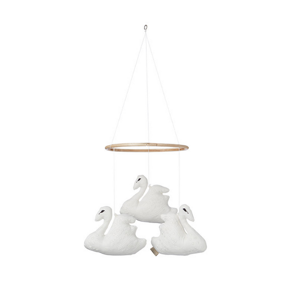 Cam Cam Hanging Swan Mobile - White