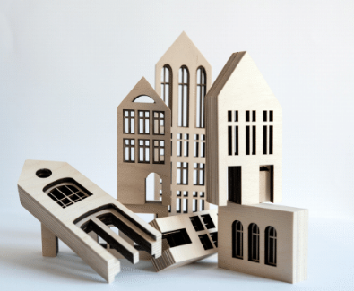 KOLEKTO | STORIES IN STRUCTURES | Metropol Wood Building House Blocks & Puzzle