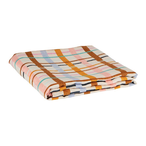 SAGE & CLARE | Cady Check Linen Flat Sheet (PRE-ORDER MAY)
