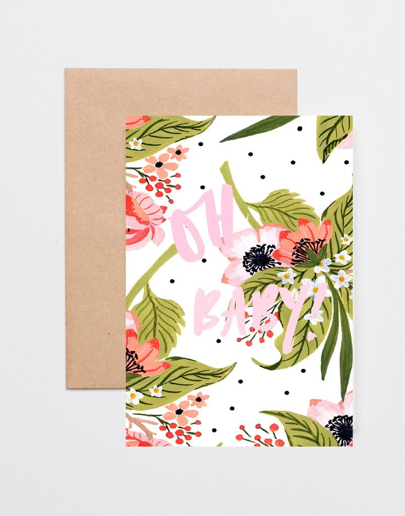'Oh Baby' Blushing Berries Greeting Card by Jewel Paper Co.