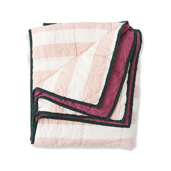 SOCIETY OF WANDERERS | Blush Stripe & Fuchsia Double Sided Cot Quilt