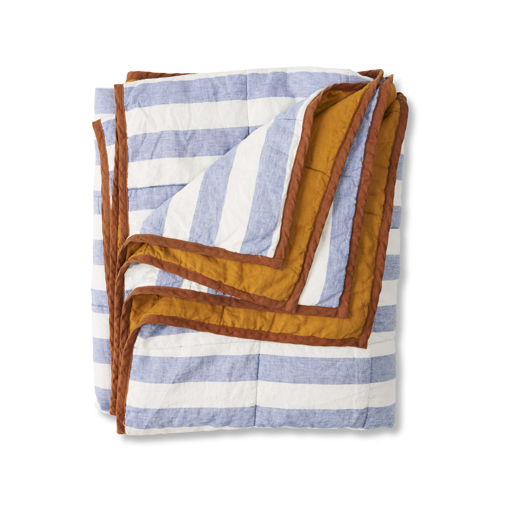 SOCIETY OF WANDERERS | Chambray Stripe & Turmeric Double Sided Quilt
