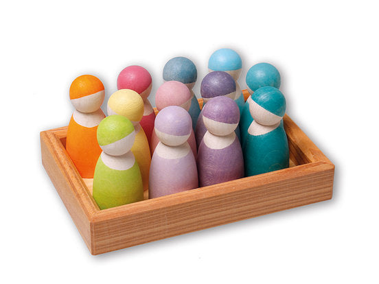 Grimm's Pastel 12 Wooden Friends in Pastel Colours