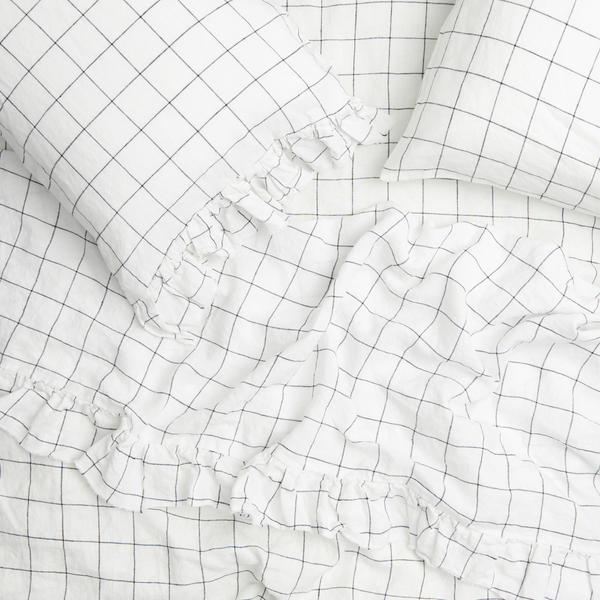 Society of Wanderers Grid Frill Flat Sheet