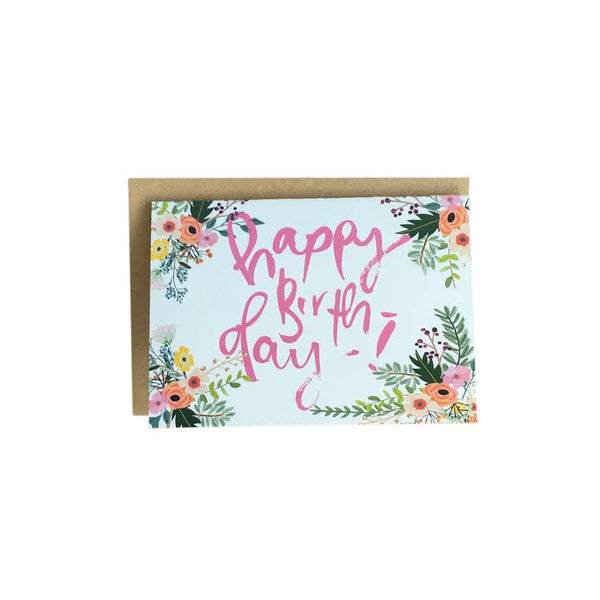 'Happy Birthday' Floral Greeting Card by Jewel Paper Co.