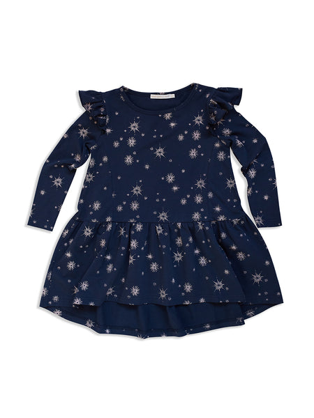 MAD ABOUT MINI | Midnight Star Long-Sleeve Frill Dress