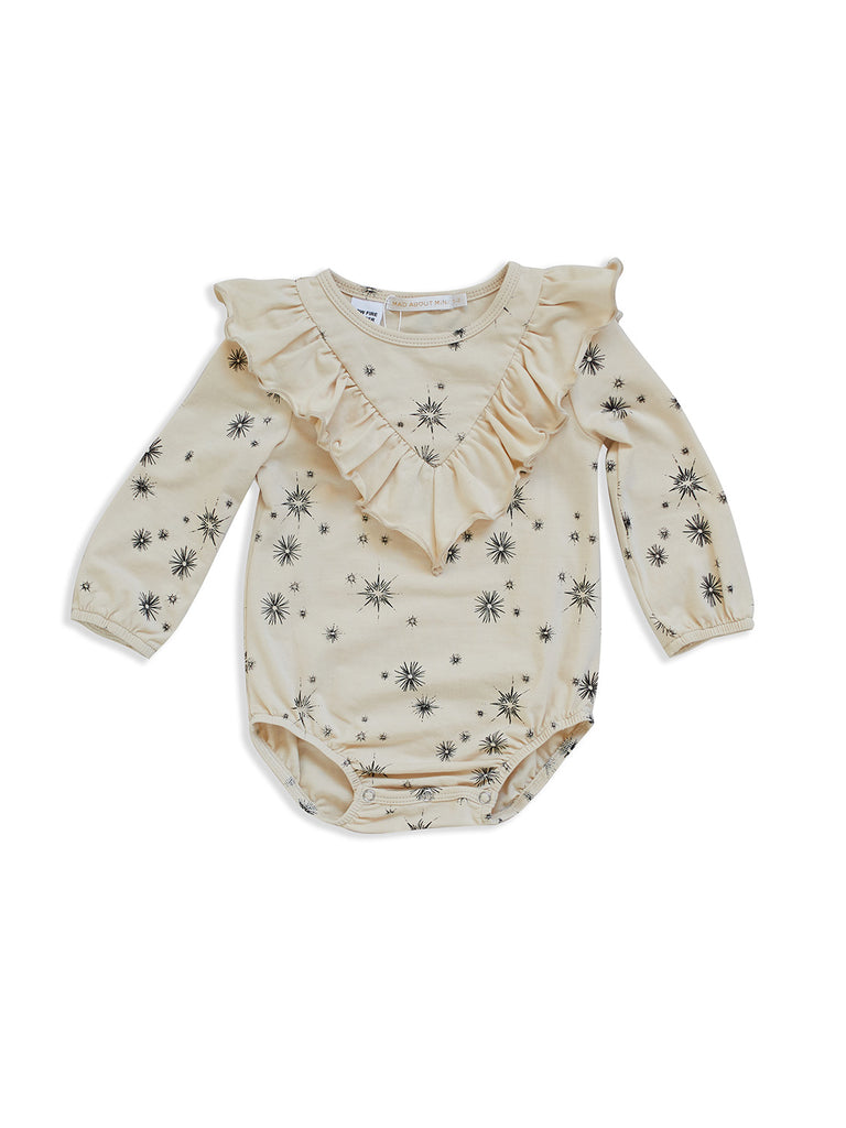 MAD ABOUT MINI | Vanilla Start Print Frill Baby Romper