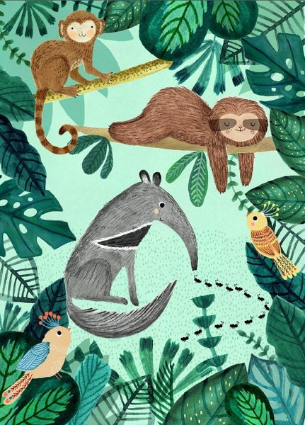 PETIT MONKEY |  Ant Eater & Sloth Poster by Rebecca Jones