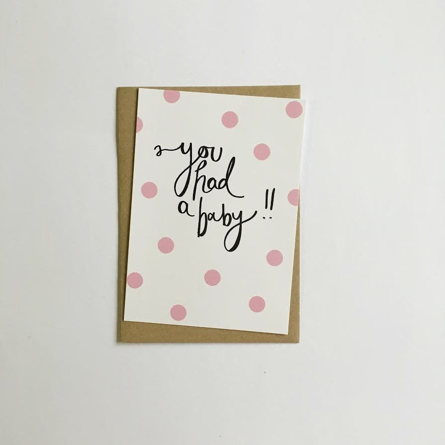 Baby Pink Greeting Card by Jewel Paper Co.