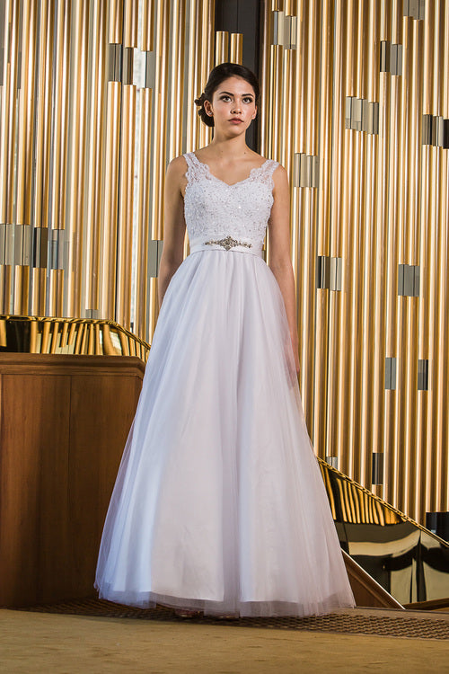 Debutant Or Simple Wedding Gown Full Skirt No Train Cz 5088 0x