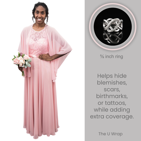 The U Wrap with Diamonte Scarf Ring Set (Dusty Rose)