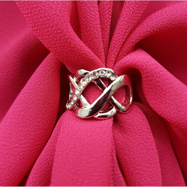 The U Wrap with Diamonte Scarf Ring Set (Hot Pink)
