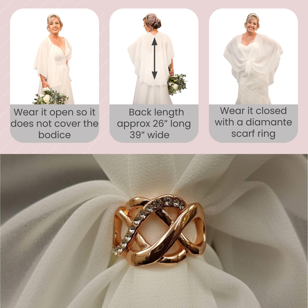 The U Wrap with Diamonte Scarf Ring Set (Ivory)