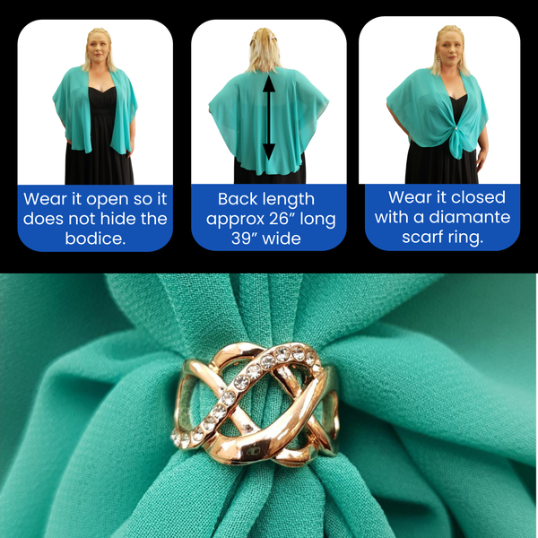 The U Wrap with Diamonte Scarf Ring Set (Jade)