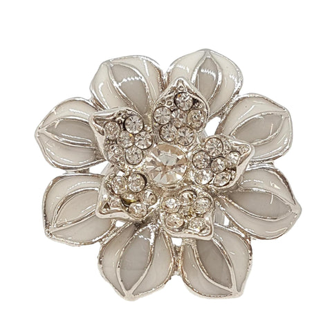 Silver Flower Triple Scarf Ring - (Small Rings) in Gift Box