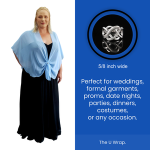 The U Wrap with Diamonte Scarf Ring Set (Sky Blue)