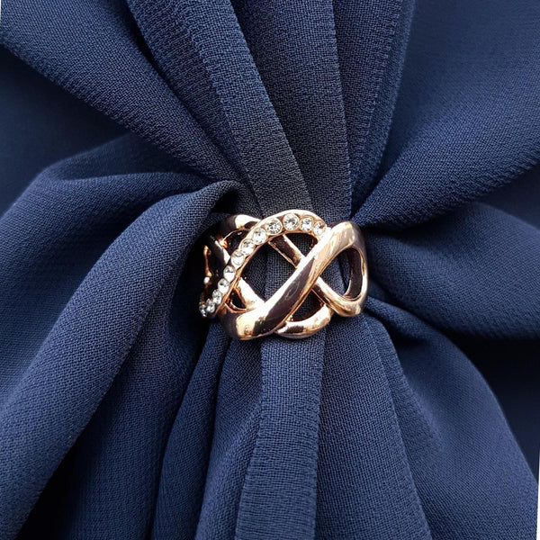 The U Wrap with Diamonte Scarf Ring Set (Navy)