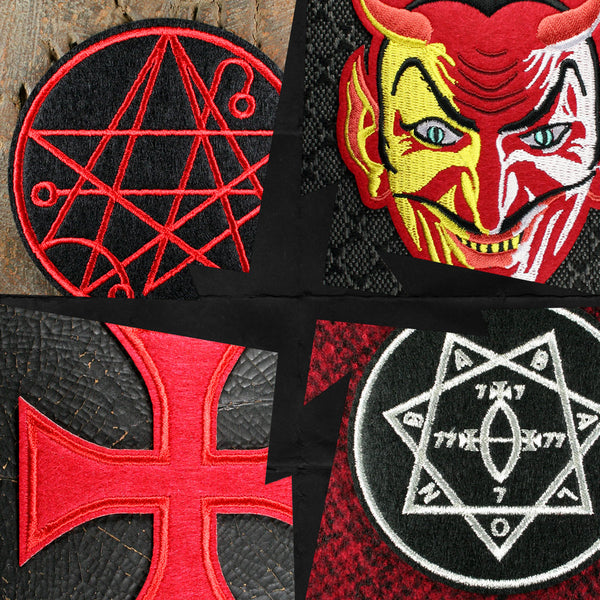 Necronomicon patch Red Devil patch Templar Cross patch Star of Babalon patch