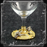 Baphomet Wine Glass - Gold-Plated with Black & Red Stones